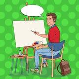 Schiocco Art Male Artist Painting allo studio Pittore dell'uomo in officina Fotografie Stock