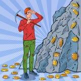 Schiocco Art Male Miner in casco con il piccone che estrae le monete di Bitcoin Tecnologia di rete cripto di Blockchain di valuta Immagini Stock Libere da Diritti