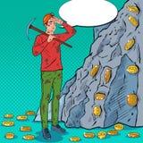Schiocco Art Male Miner in casco con il piccone che estrae le monete di Bitcoin Tecnologia di rete cripto di Blockchain di valuta Fotografie Stock Libere da Diritti