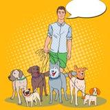 Schiocco Art Man Dog Walker Fotografia Stock