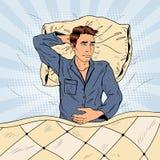 Schiocco Art Man a letto che soffre insonnia ed insonnia Fotografie Stock