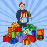 Schiocco Art Man in Santa Hat con i regali sulla vendita di Natale Immagine Stock Libera da Diritti