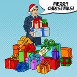 Schiocco Art Man in Santa Hat con i regali sulla vendita di Natale Fotografie Stock Libere da Diritti