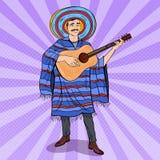 Schiocco Art Mariachi Playing Guitar Uomo messicano in poncio e sombrero royalty illustrazione gratis