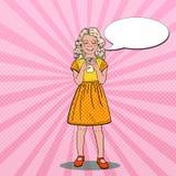 Schiocco Art Smiling Girl Drinking Milk Cibo sano Fotografia Stock Libera da Diritti