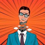 Schiocco Art Stressed Businessman con il meccanismo capo e rotto di esplosione Immagini Stock