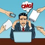 Schiocco Art Stressed Businessman sul lavoro d'ufficio a funzioni multiple royalty illustrazione gratis