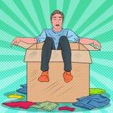 Schiocco Art Stressed Man nella scatola con i vestiti Guy Moving con le scatole alla nuova casa Immagine Stock