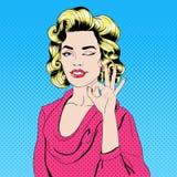 Schiocco Art Style Girl Gesturing Okay Fotografia Stock Libera da Diritti