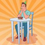 Schiocco Art Unhappy Man Celebrating Birthday solo Tipo triste con la torta di compleanno Illustrazione Vettoriale
