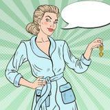 Schiocco Art Young Beautiful Woman con la chiave dorata Fotografia Stock Libera da Diritti