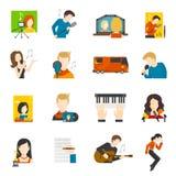 Schiocco Cantante Flat Icons Set Fotografie Stock Libere da Diritti