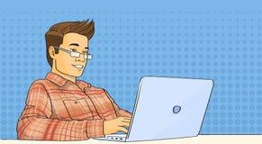 Schiocco casuale Art Colorful Retro Style del computer portatile del lavoro dell'uomo illustrazione di stock