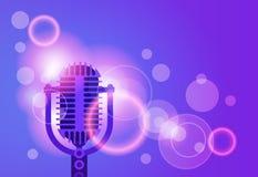 Schiocco variopinto Art Style Modern Musical Poster dell'insegna di musica del microfono Fotografia Stock