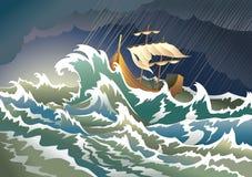 Schip dat in het onweer daalt Royalty-vrije Stock Afbeeldingen