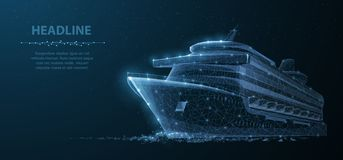Schip De abstracte vectorluxe ruise voeringsschip op de donkerblauwe achtergrond van de nachthemel met punten, sterren stock illustratie