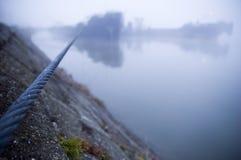 Schip in de mist stock foto