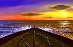 Schip in de oceaan Royalty-vrije Stock Foto