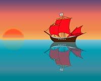 Schip in de oceaan bij zonsondergang Stock Foto