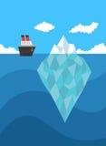 Schip dichtbij concept van het ijsberg het vectorgevaar Royalty-vrije Stock Foto