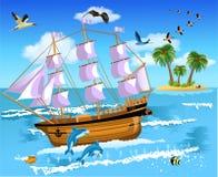 Schip die op het overzees drijven Stock Foto