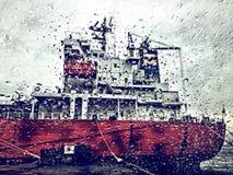 Schip door een regenachtig venster Stock Foto