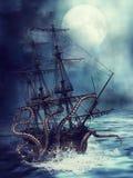 Schip en tentakels stock illustratie