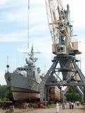 Schip in het dok, Astrakan, Rusland Stock Afbeeldingen