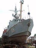 Schip in het dok, Astrakan, Rusland Stock Foto's
