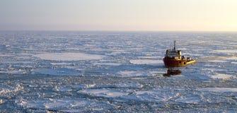 Schip in het Noordpoolgebied Royalty-vrije Stock Fotografie