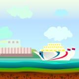 Schip in het overzees die in het water zwemmen Stock Afbeeldingen