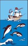 Schip in het overzees en er is walvis Stock Afbeelding