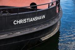 Schip met Etiket van Christianshavn, Kopenhagen, Denemarken Stock Afbeelding