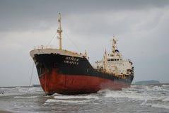 Schip met lading op het Kanaal van Kiel, Duitsland Stock Fotografie