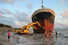 Schip met lading op het Kanaal van Kiel, Duitsland Stock Foto
