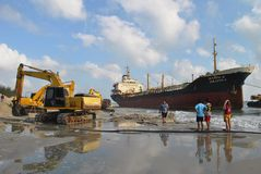 Schip met lading op het Kanaal van Kiel, Duitsland Royalty-vrije Stock Afbeeldingen