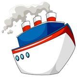 Schip met stoom op wit royalty-vrije illustratie