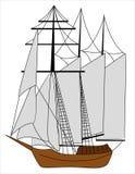 Schip met zeilen Royalty-vrije Stock Afbeelding