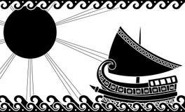 Schip in oceaan in klassieke Griekse stijl Stock Afbeelding
