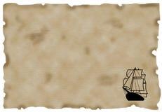 Schip op Antiek Document Royalty-vrije Stock Foto's