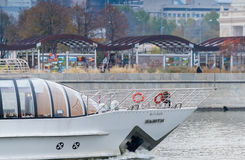 Schip op de rivier van Moskou Stock Foto