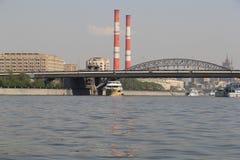Schip op de rivier van Moskou, jaar 2014 Royalty-vrije Stock Fotografie