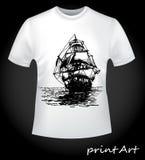 Schip op de T-shirt Stock Afbeeldingen