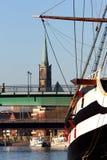 Schip op rivier Weser royalty-vrije stock afbeelding
