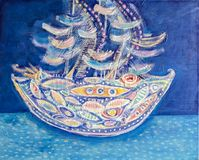 Schip op zee Het abstracte geweven acryl schilderen vector illustratie