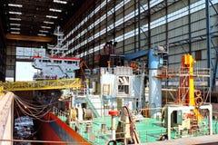 Schip in scheepswerf Stock Foto