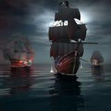 Schip twee die na een piraatschip varen Stock Foto's