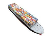 Schip van de container isoleerde vooraanzicht Stock Foto's