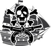 Schip van de piraterij rossed beenderen Royalty-vrije Stock Afbeeldingen