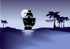Schip van piraten op blauwe overzees. Stock Fotografie